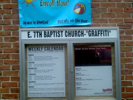 F.L.I.P. 5-9-15 Graffiti Church Sign